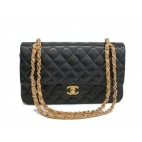Chanel Double Flap Lambskin Black & Beige Leather Chain