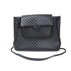Chanel Calfskin Black Chevron Shopping Tote 2015 SS Collection