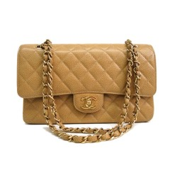 Chanel Medium Double Flap Caviar Beige with Gold Hardware