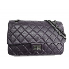 Chanel 2.55 Purple Maxi (32cm) with Silver Hardware