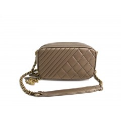 Chanel CoCo Boy shoulder lambskin bronze bag