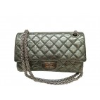 CHANEL 2.55 Double Flap Chain Bag Vintage Calfskin Metallic Green