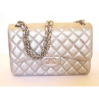 Chanel Grey-Silver Jumbo in Lambskin Leather