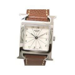 Hermes H Watch Wristwatch SS Leather Brown Ladies