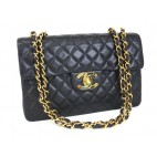 Chanel Vintage Jumbo Flap Calfskin Black with Gold Hardware