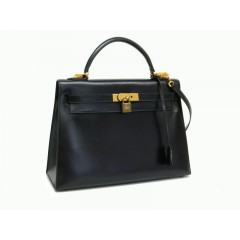 Hermes Kelly 32 Outer Seamed Gold Hardware Box Calf / Box Veau Black