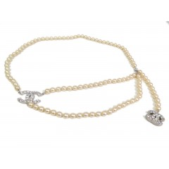 Chanel Pearl Belt/Necklace with Silver Hardware & Heart Swarovski crystals