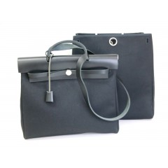 Hermes Herbag MM Canvas Black