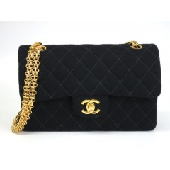 Chanel Classic Small Canvas Cotton Double Flap Black