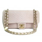 Chanel Medium Beige Pink Lambskin Chevron Flap Bag