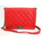 Chanel LeBoy Red Large with Silver Hardware